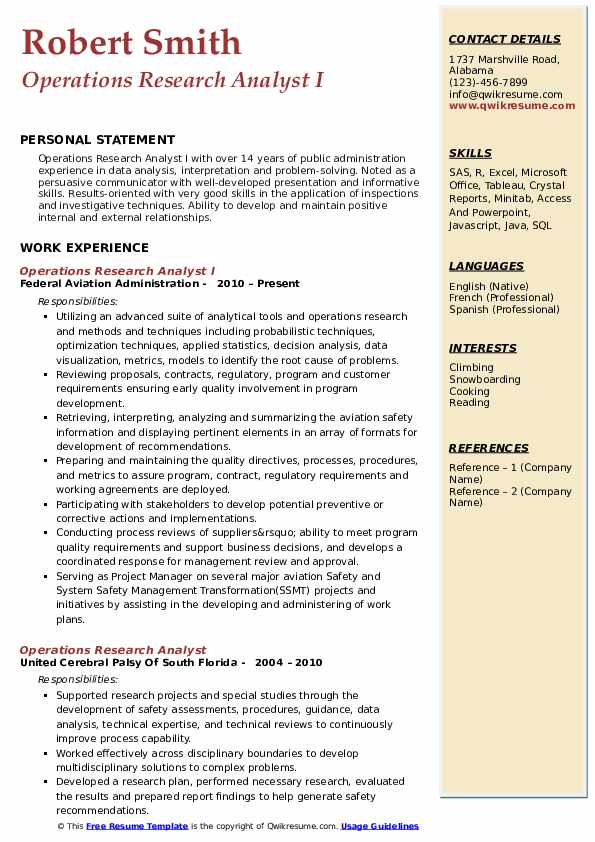 Operations Research Analyst I Resume Format