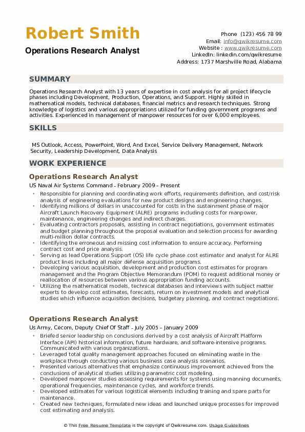 Operations Research Analyst Resume example