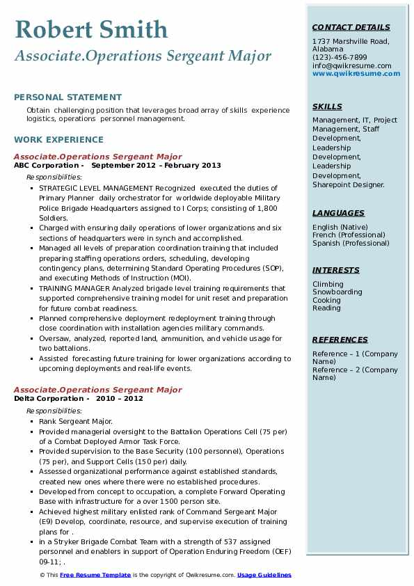 Operations Sergeant Major Resume Samples Qwikresume