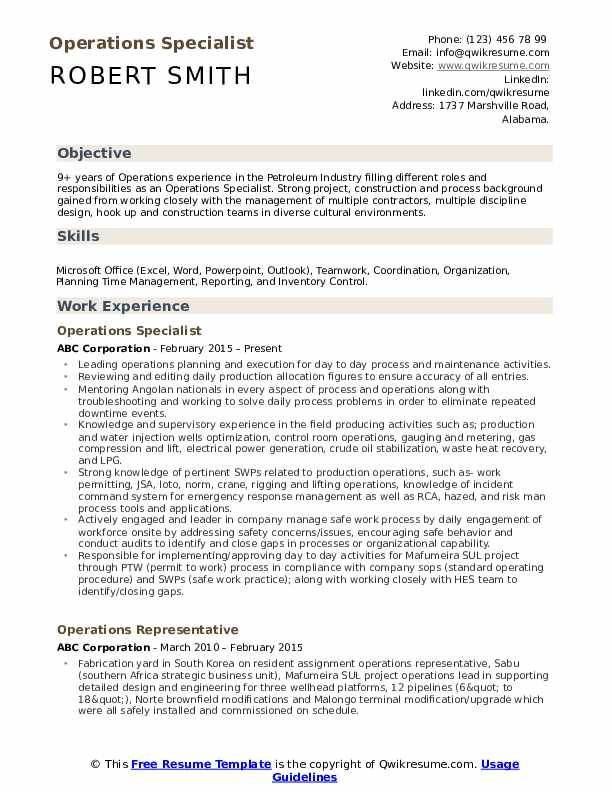 Operations Specialist  Resume Template