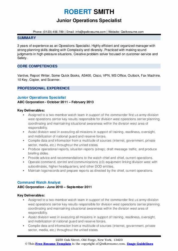 Junior Operations Specialist Resume Example