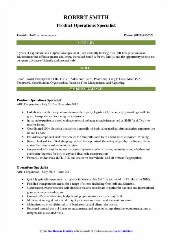 operations specialist resume samples
