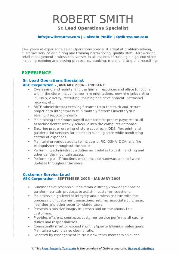 Sr. Lead Operations Specialist Resume Template