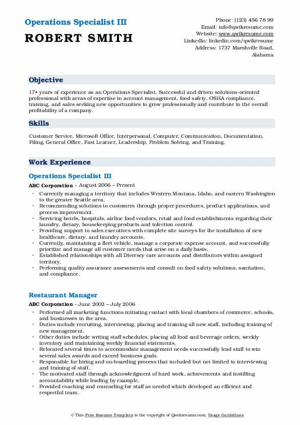 Operations Specialist III Resume Template