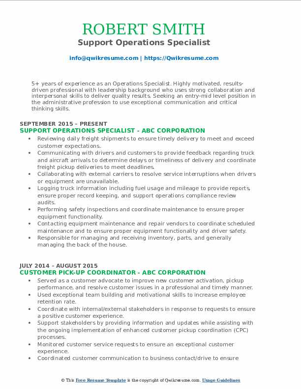 Support Operations Specialist Resume Template
