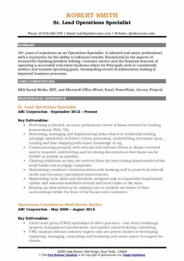 Sr. Lead Operations Specialist Resume Sample