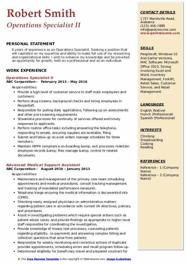 Operations Specialist II Resume Model