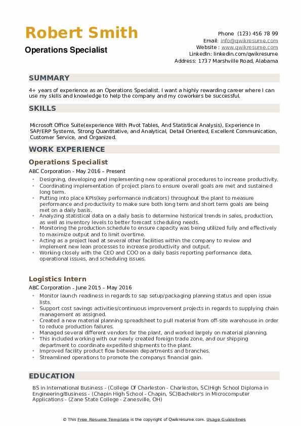 Operations Specialist Resume example