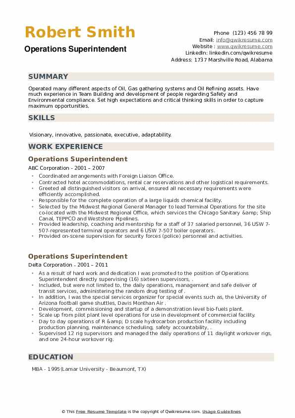 Operations Superintendent Resume example