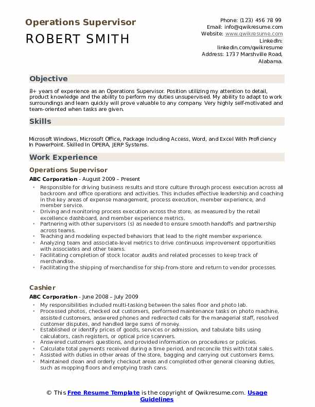 Operations Supervisor  Resume Model