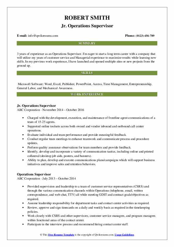 Jr. Operations Supervisor Resume Model
