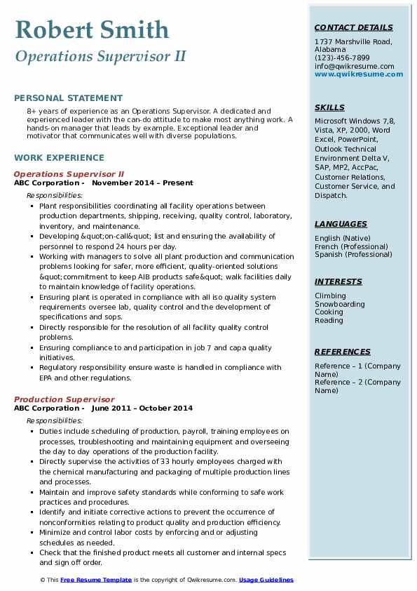 Operations Supervisor II Resume Template