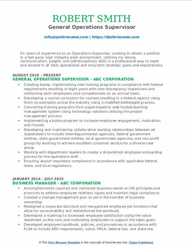 General Operations Supervisor Resume Model
