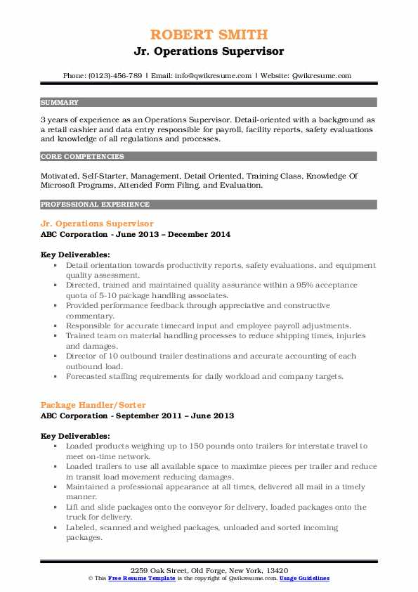 Jr. Operations Supervisor Resume Example