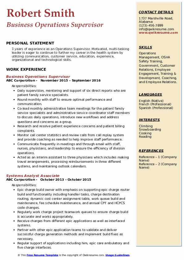 Business Operations Supervisor Resume Model