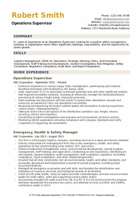 Operations Supervisor Resume example