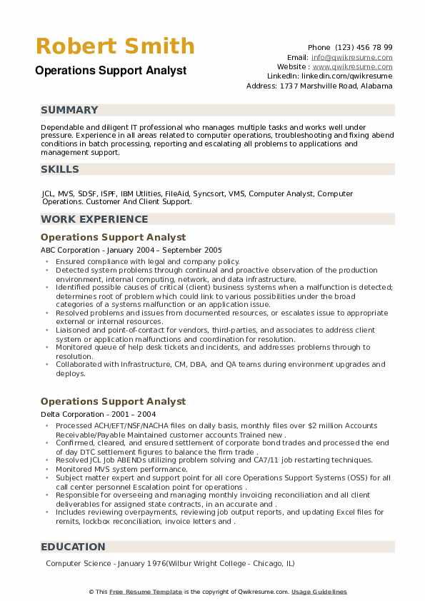 Operations Support Analyst Resume example