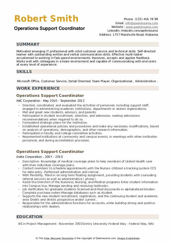 Operations Support Coordinator Resume example