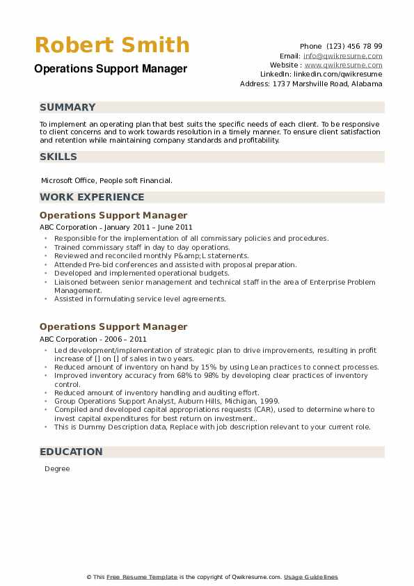 Operations Support Manager Resume example