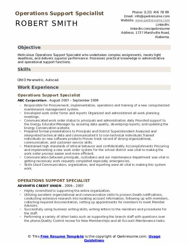 Operations Support Specialist Resume Model