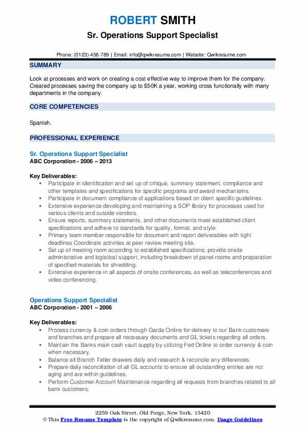 Sr. Operations Support Specialist Resume Model