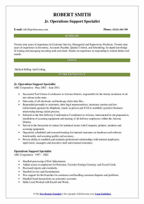Jr. Operations Support Specialist Resume Example