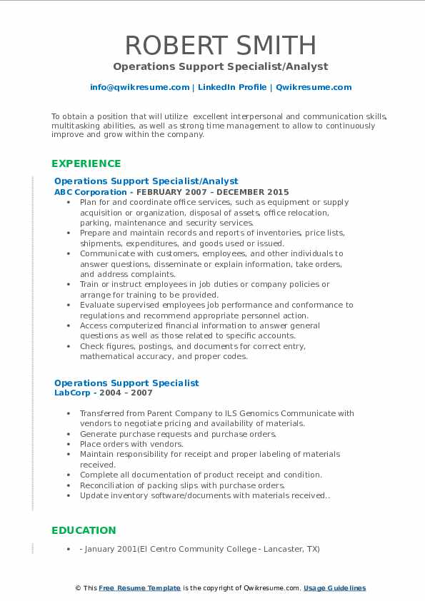 Operations Support Specialist/Analyst Resume Template