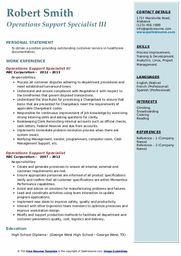 Operations Support Specialist III Resume Template