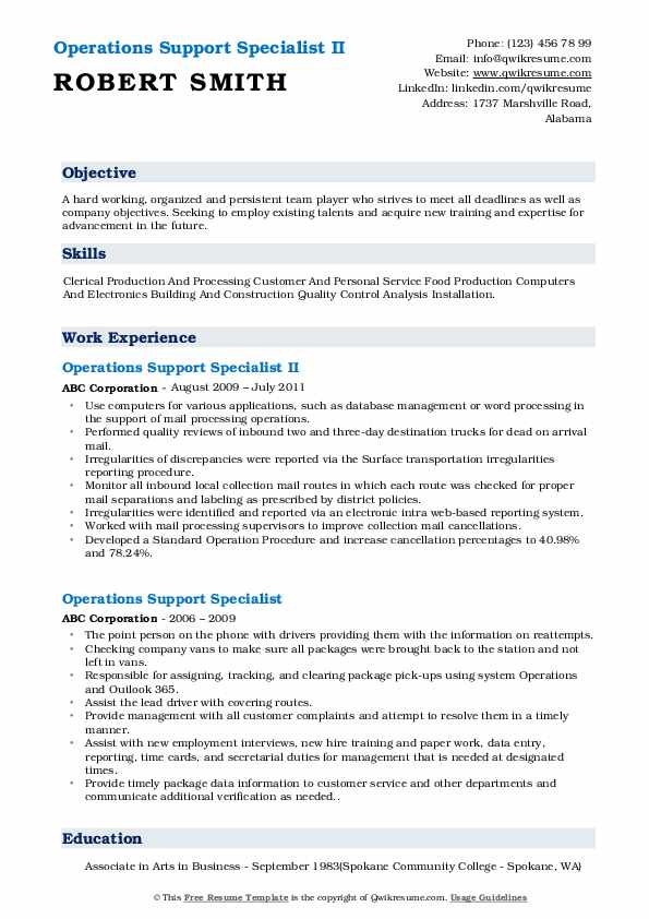 Operations Support Specialist II Resume Format