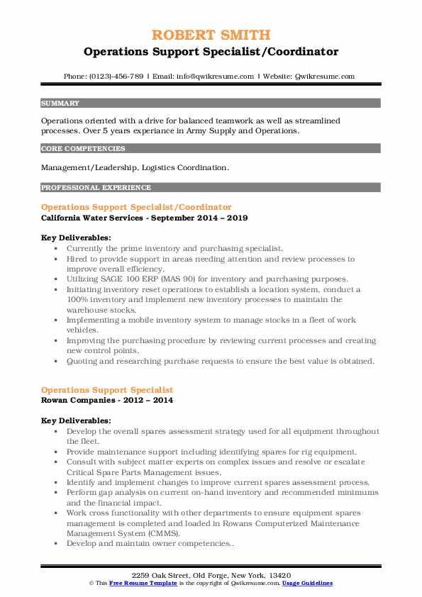 Operations Support Specialist/Coordinator Resume Format