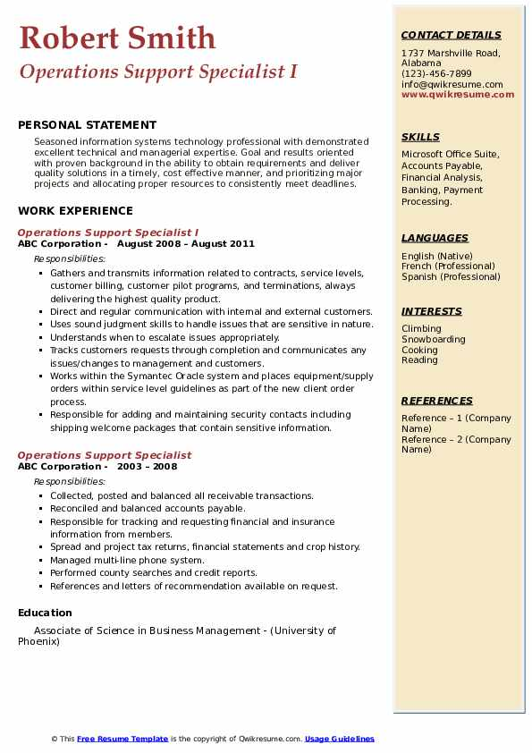 Operations Support Specialist I Resume Template