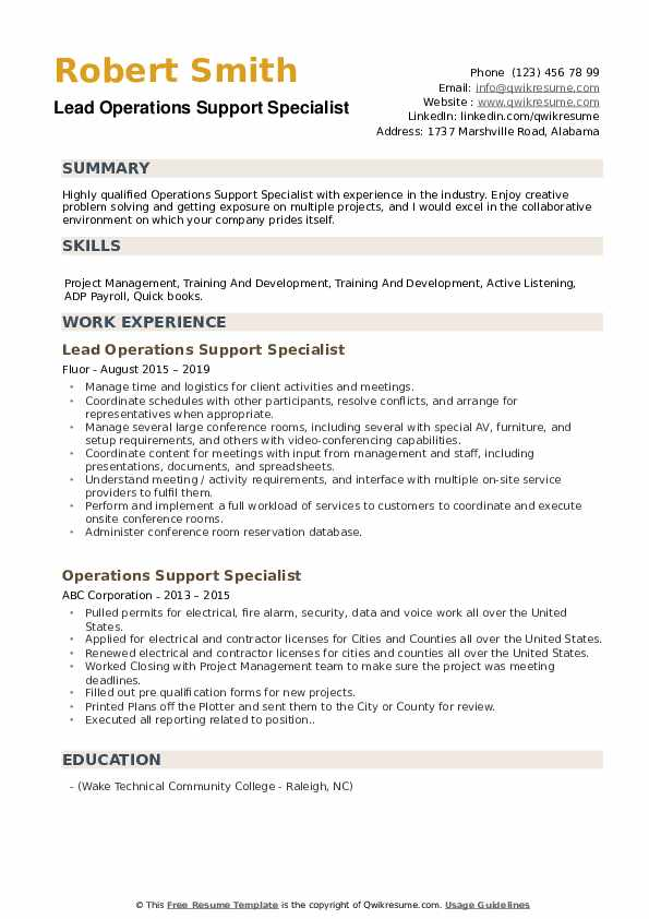 Lead Operations Support Specialist Resume Model