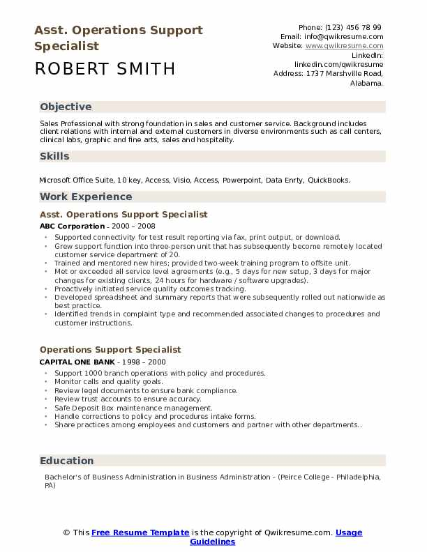 Asst. Operations Support Specialist Resume Template