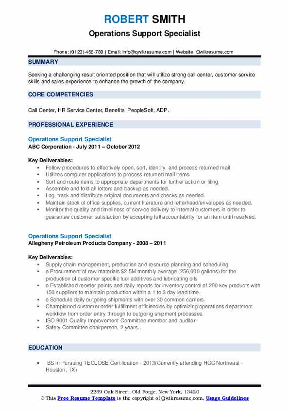 Operations Support Specialist Resume example