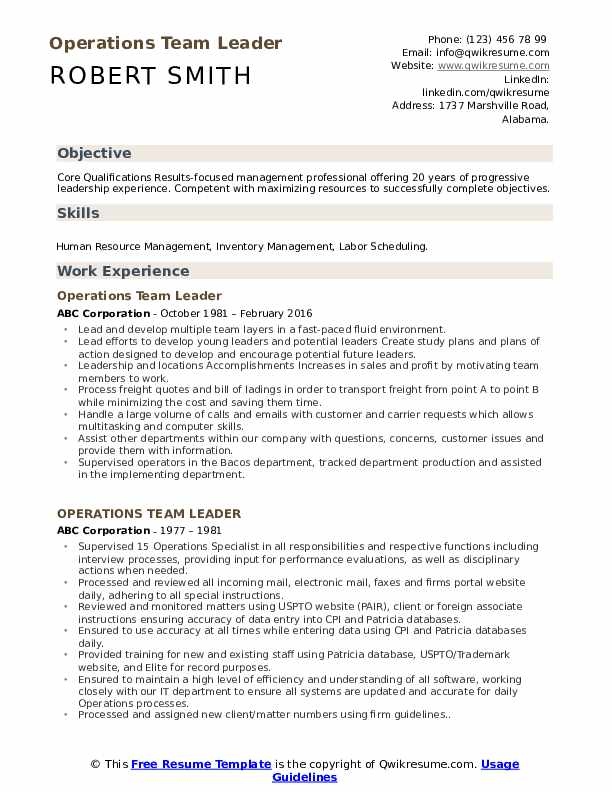 Operations Team Leader Resume Template
