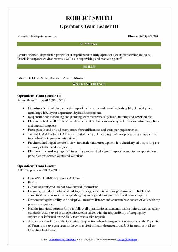 Operations Team Leader III Resume Sample