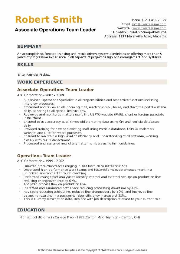 Associate Operations Team Leader Resume Template