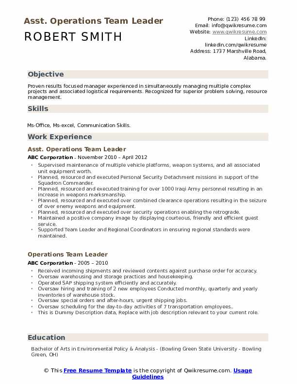 Asst. Operations Team Leader Resume Model