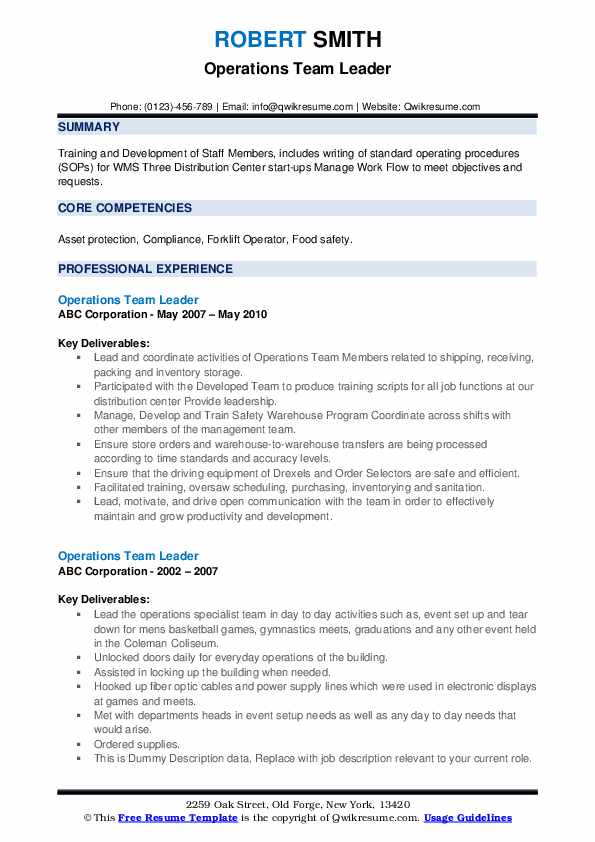 Operations Team Leader Resume example