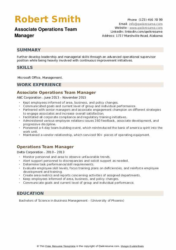 Operations Team Manager Resume example