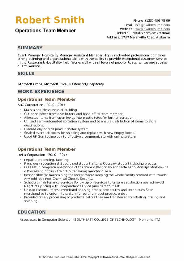 Operations Team Member Resume example