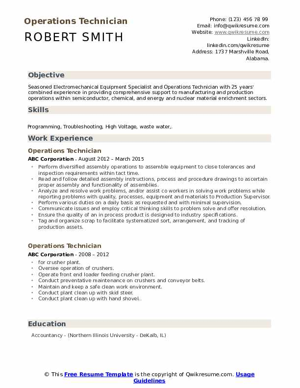 Operations Technician Resume Format