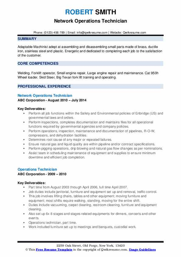 Network Operations Technician Resume Model
