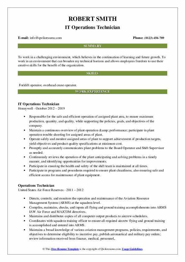 IT Operations Technician Resume Model