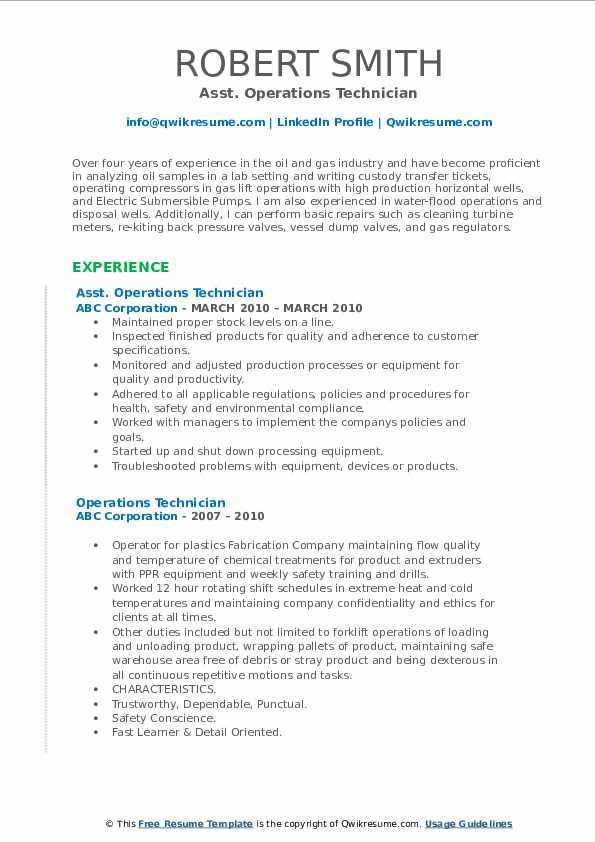 Asst. Operations Technician Resume Format