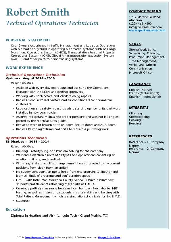 Technical Operations Technician Resume Template