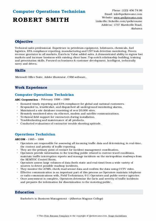 Computer Operations Technician Resume Sample