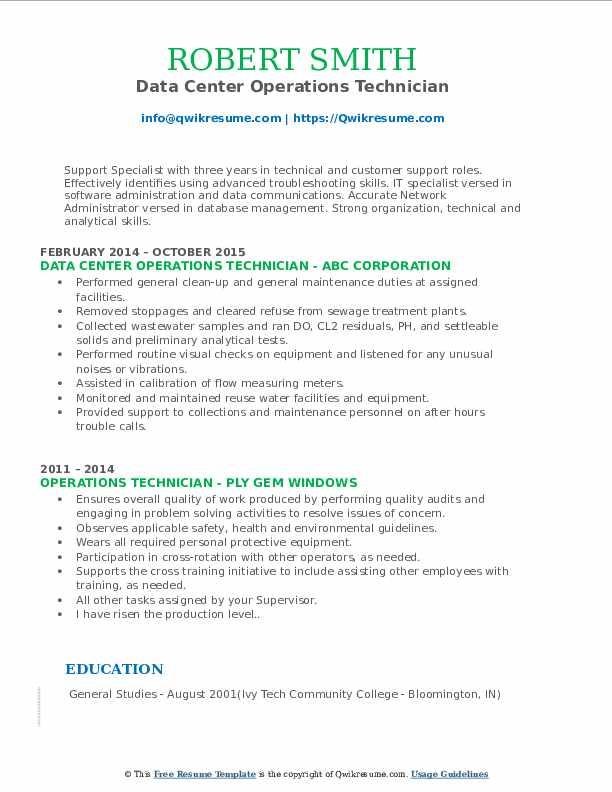 Data Center Operations Technician Resume Model