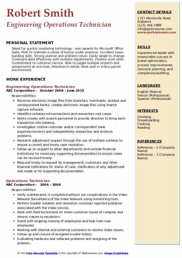 Engineering Operations Technician Resume Template