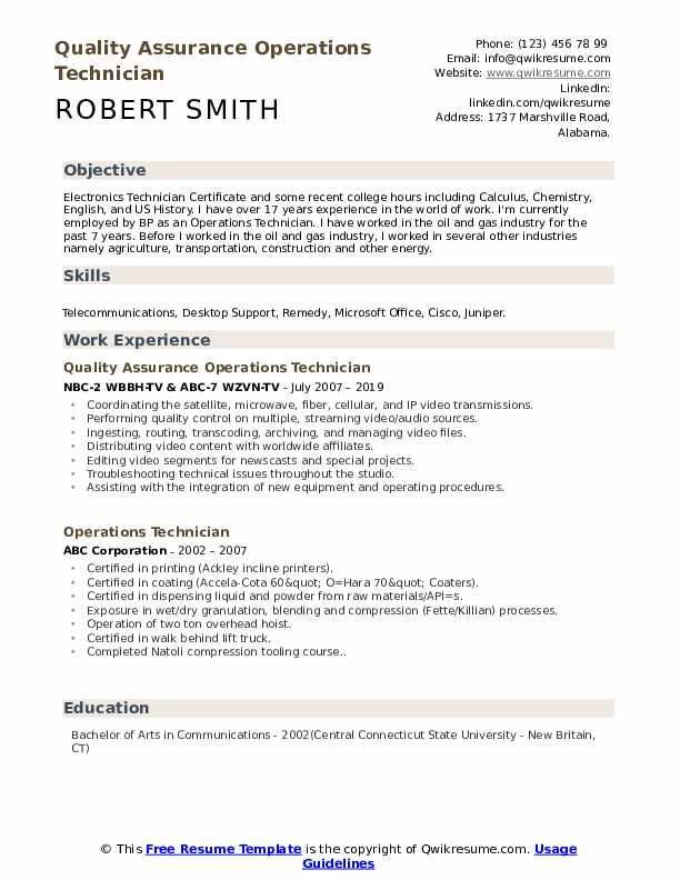 Quality Assurance Operations Technician Resume Format